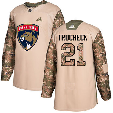 Adidas Panthers #21 Vincent Trocheck Camo Authentic 2017 Veterans Day Stitched Youth NHL Jersey