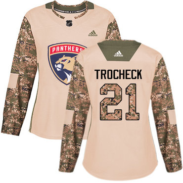 Adidas Panthers #21 Vincent Trocheck Camo Authentic 2017 Veterans Day Women's Stitched NHL Jersey