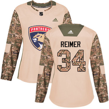 Adidas Panthers #34 James Reimer Camo Authentic 2017 Veterans Day Women's Stitched NHL Jersey