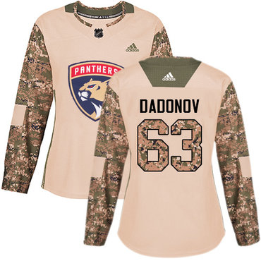 Adidas Panthers #63 Evgenii Dadonov Camo Authentic 2017 Veterans Day Women's Stitched NHL Jersey