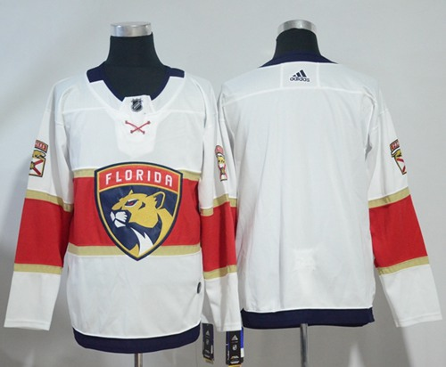 Adidas Panthers Blank White Road Authentic Stitched NHL Jersey