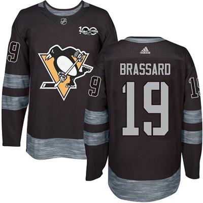 Adidas Penguins #19 Derick Brassard Black 1917-2017 100th Anniversary Stitched NHL Jersey