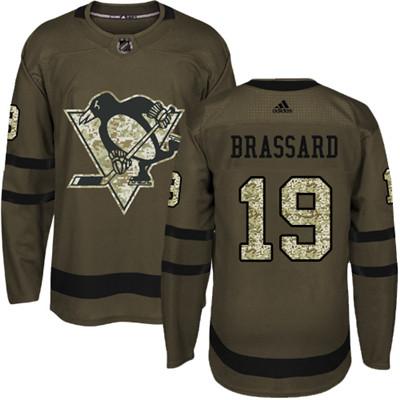 Adidas Penguins #19 Derick Brassard Green Salute to Service Stitched NHL Jersey