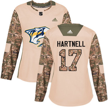 Adidas Predators #17 Scott Hartnell Camo Authentic 2017 Veterans Day Women's Stitched NHL Jersey