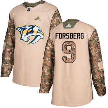 Adidas Predators #9 Filip Forsberg Camo Authentic 2017 Veterans Day Stitched Youth NHL Jersey