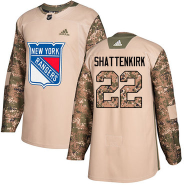 Adidas Rangers #22 Kevin Shattenkirk Camo Authentic 2017 Veterans Day Stitched Youth NHL Jersey