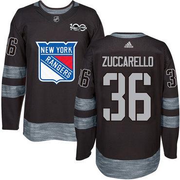 Adidas Rangers #36 Mats Zuccarello Black 1917-2017 100th Anniversary Stitched NHL Jersey