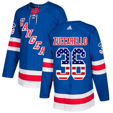 Adidas Rangers #36 Mats Zuccarello Royal Blue Home Authentic USA Flag Stitched NHL Jersey