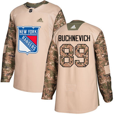 Adidas Rangers #89 Pavel Buchnevich Camo Authentic 2017 Veterans Day Stitched Youth NHL Jersey