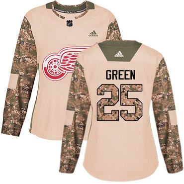 Adidas Red Wings #25 Mike Green Camo Authentic 2017 Veterans Day Women's Stitched NHL Jersey