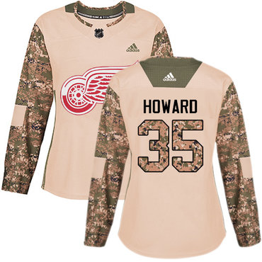 Adidas Red Wings #35 Jimmy Howard Camo Authentic 2017 Veterans Day Women's Stitched NHL Jersey