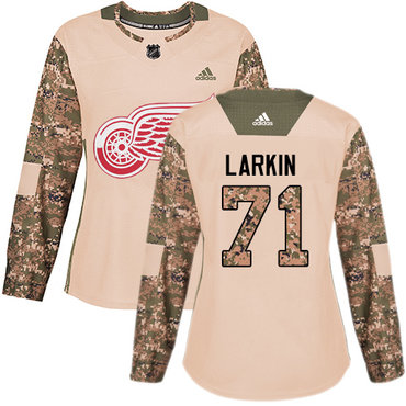 Adidas Red Wings #71 Dylan Larkin Camo Authentic 2017 Veterans Day Women's Stitched NHL Jersey