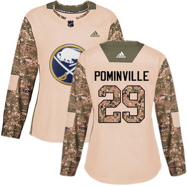 Adidas Sabres #29 Jason Pominville Camo Authentic 2017 Veterans Day Women's Stitched NHL Jersey