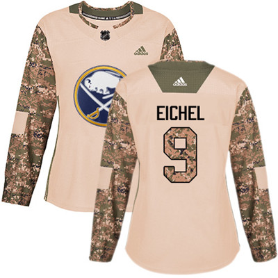 Adidas Sabres #9 Jack Eichel Camo Authentic 2017 Veterans Day Women's Stitched NHL Jersey