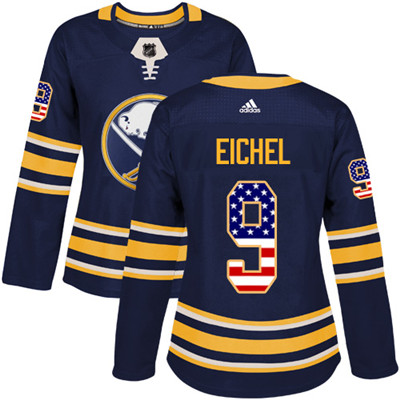 Adidas Sabres #9 Jack Eichel Navy Blue Home Authentic USA Flag Women's Stitched NHL Jersey