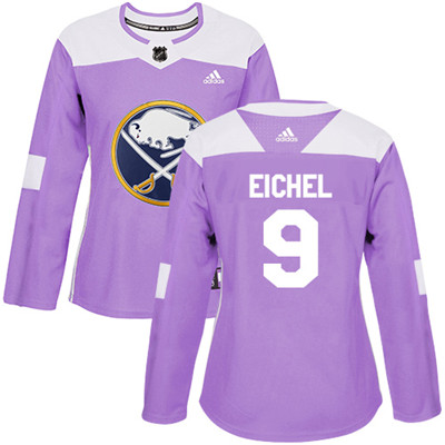 Adidas Sabres #9 Jack Eichel Purple Authentic Fights Cancer Women's Stitched NHL Jersey
