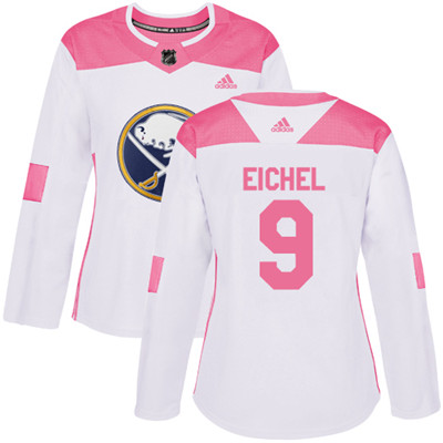 Adidas Sabres #9 Jack Eichel White Pink Authentic Fashion Women's Stitched NHL Jersey