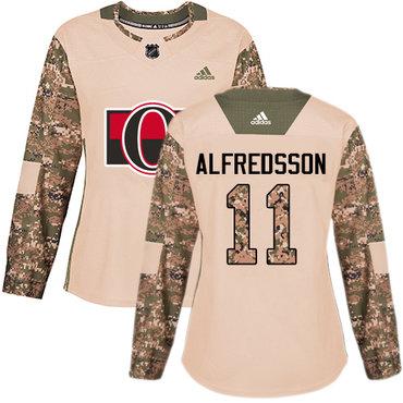 Adidas Senators #11 Daniel Alfredsson Camo Authentic 2017 Veterans Day Women's Stitched NHL Jersey