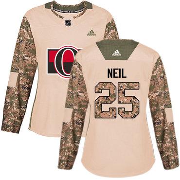 Adidas Senators #25 Chris Neil Camo Authentic 2017 Veterans Day Women's Stitched NHL Jersey