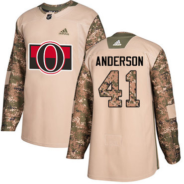 Adidas Senators #41 Craig Anderson Camo Authentic 2017 Veterans Day Stitched Youth NHL Jersey