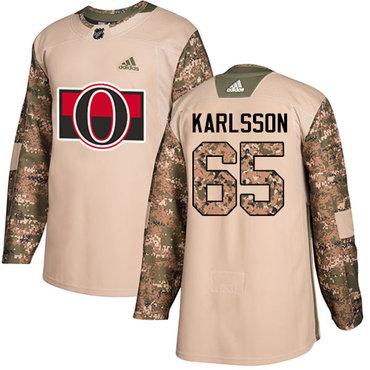 Adidas Senators #65 Erik Karlsson Camo Authentic 2017 Veterans Day Stitched Youth NHL Jersey