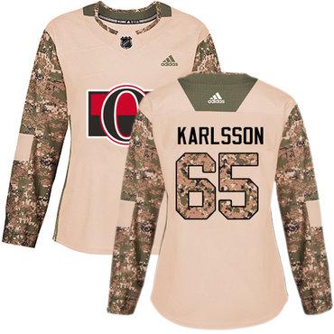 Adidas Senators #65 Erik Karlsson Camo Authentic 2017 Veterans Day Women's Stitched NHL Jersey