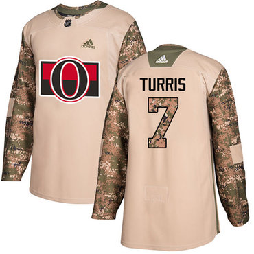 Adidas Senators #7 Kyle Turris Camo Authentic 2017 Veterans Day Stitched Youth NHL Jersey