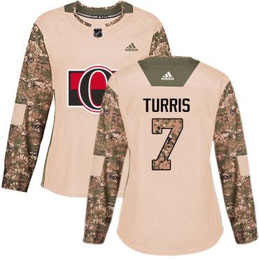 Adidas Senators #7 Kyle Turris Camo Authentic 2017 Veterans Day Women's Stitched NHL Jersey