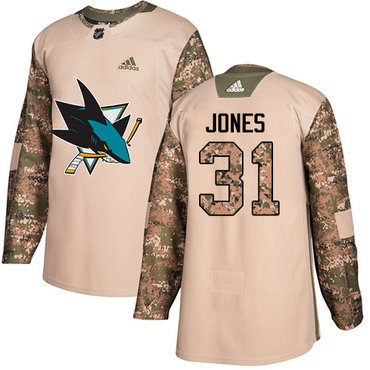 Adidas Sharks #31 Martin Jones Camo Authentic 2017 Veterans Day Stitched Youth NHL Jersey