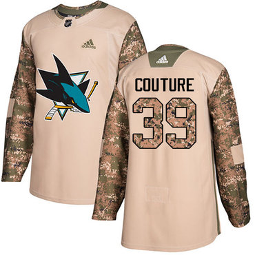Adidas Sharks #39 Logan Couture Camo Authentic 2017 Veterans Day Stitched Youth NHL Jersey