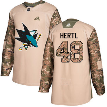 Adidas Sharks #48 Tomas Hertl Camo Authentic 2017 Veterans Day Stitched Youth NHL Jersey