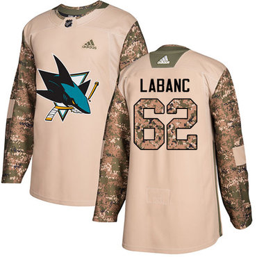 Adidas Sharks #62 Kevin Labanc Camo Authentic 2017 Veterans Day Stitched Youth NHL Jersey