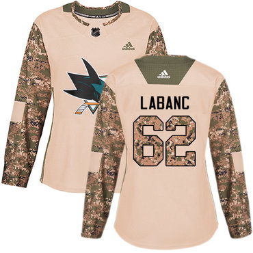 Adidas Sharks #62 Kevin Labanc Camo Authentic 2017 Veterans Day Women's Stitched NHL Jersey