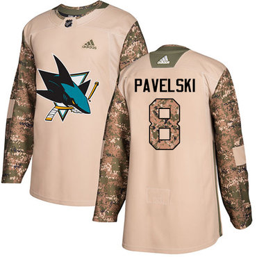 Adidas Sharks #8 Joe Pavelski Camo Authentic 2017 Veterans Day Stitched Youth NHL Jersey