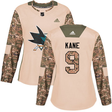 Adidas Sharks #9 Evander Kane Camo Authentic 2017 Veterans Day Women's Stitched NHL Jersey