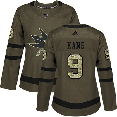 Adidas Sharks #9 Evander Kane Green Salute to Service Women's Stitched NHL Jersey