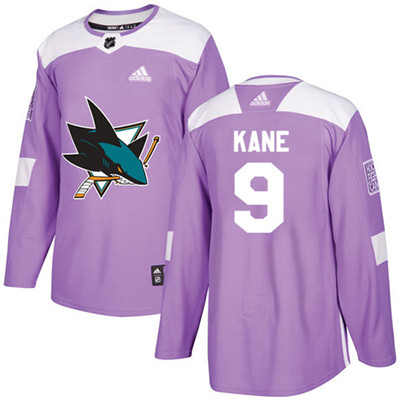 Adidas Sharks #9 Evander Kane Purple Authentic Fights Cancer Stitched Youth NHL Jersey