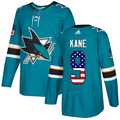 Adidas Sharks #9 Evander Kane Teal Home Authentic USA Flag Stitched Youth NHL Jersey
