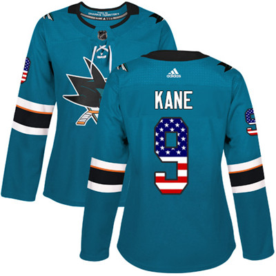 Adidas Sharks #9 Evander Kane Teal Home Authentic USA Flag Women's Stitched NHL Jersey