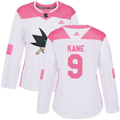 Adidas Sharks #9 Evander Kane White Pink Authentic Fashion Women's Stitched NHL Jersey