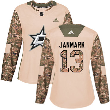 Adidas Stars #13 Mattias Janmark Camo Authentic 2017 Veterans Day Women's Stitched NHL Jersey