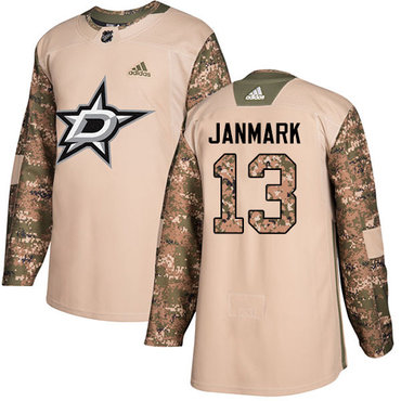 Adidas Stars #13 Mattias Janmark Camo Authentic 2017 Veterans Day Youth Stitched NHL Jersey