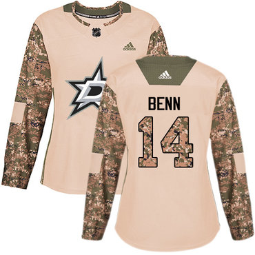 Adidas Stars #14 Jamie Benn Camo Authentic 2017 Veterans Day Women's Stitched NHL Jersey