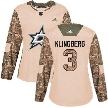 Adidas Stars #3 John Klingberg Camo Authentic 2017 Veterans Day Women's Stitched NHL Jersey