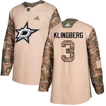 Adidas Stars #3 John Klingberg Camo Authentic 2017 Veterans Day Youth Stitched NHL Jersey