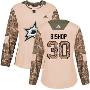 Adidas Stars #30 Ben Bishop Camo Authentic 2017 Veterans Day Women's Stitched NHL Jersey