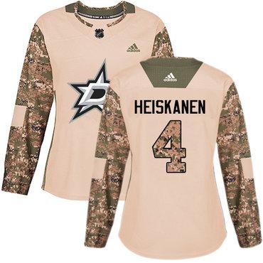 Adidas Stars #4 Miro Heiskanen Camo Authentic 2017 Veterans Day Women's Stitched NHL Jersey