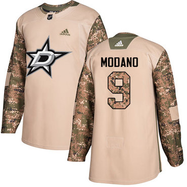 Adidas Stars #9 Mike Modano Camo Authentic 2017 Veterans Day Youth Stitched NHL Jersey