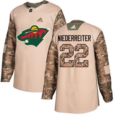 Adidas Wild #22 Nino Niederreiter Camo Authentic 2017 Veterans Day Stitched Youth NHL Jersey