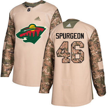 Adidas Wild #46 Jared Spurgeon Camo Authentic 2017 Veterans Day Stitched Youth NHL Jersey